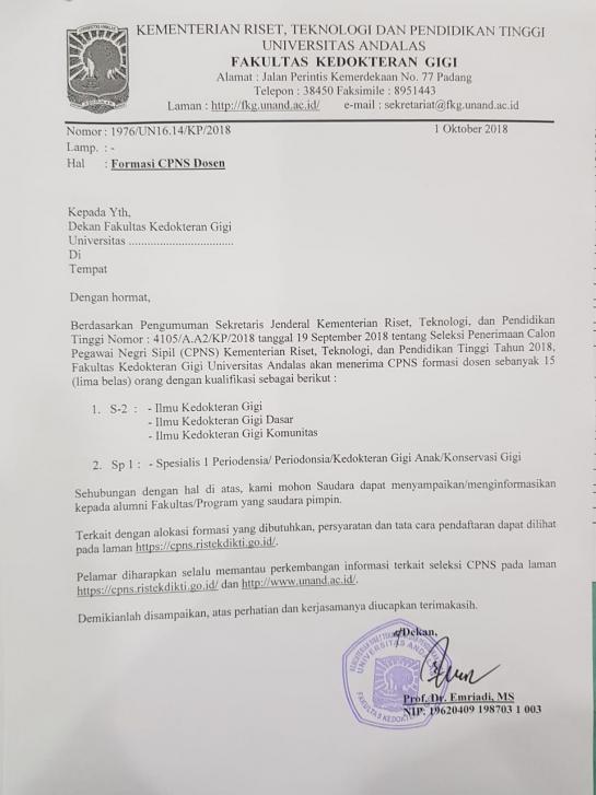 Formasi CPNS Dosen FKG Unand